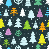 Abstract color christmas trees seamless background Stock Photos