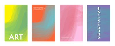 Abstract color covers set. Brushes shapes composition. Futuristic design posters. Eps10 vector Stock Photo