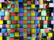 Abstract color cubes background. Abstract background formed from color cubes. 3D illustration royalty free illustration