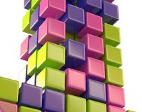 Abstract color cubes block array 3d illustration Royalty Free Stock Photography