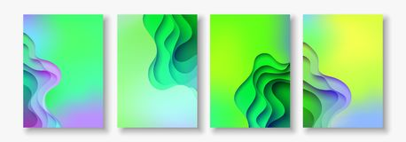 A4 abstract color 3d paper art illustration set. Contrast colors. Vector design layout for banners, presentations, flyer Royalty Free Stock Photos