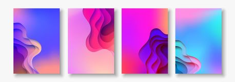 A4 abstract color 3d paper art illustration set. Contrast colors. Vector design layout for banners, presentations, flyer Royalty Free Stock Photo