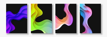 A4 abstract color 3d paper art illustration set. Contrast colors. Vector design layout for banners, presentations, flyer Stock Photography