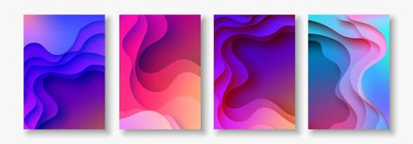 A4 abstract color 3d paper art illustration set. Contrast colors. Vector design layout for banners, presentations, flyer Stock Photo