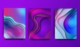 A4 abstract color 3d paper art illustration set. Contrast colors. Vector design layout for banners presentations, flyers. Posters and invitations. Eps10 royalty free illustration