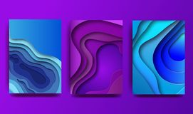 A4 abstract color 3d paper art illustration set. Contrast colors. Vector design layout for banners presentations, flyers. Posters and invitations. Eps10 stock illustration