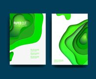 A4 abstract color 3d paper art illustration set. Contrast colors. Vector design layout for banners presentations, flyers royalty free illustration