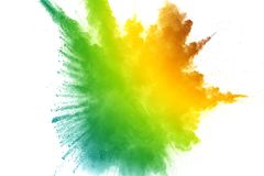 Abstract color dust explosion on white background. Stock Photo