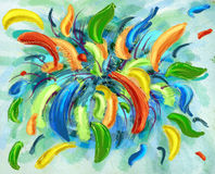 Abstract Color Explosion. Colorful explosion of abstract petals flowers and leaves royalty free illustration