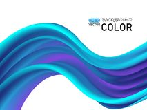 Free Abstract Color Flow Shape Poster Design. Blue 3D Wave. Royalty Free Stock Images - 153502689