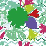 Abstract color flowers leaves zigzag background Stock Photography