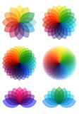 Abstract color flowers, vector set Royalty Free Stock Image