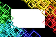 Abstract color frames on a black background. Royalty Free Stock Image
