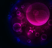 Abstract color glowing background with disco ball Royalty Free Stock Images