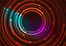 Abstract color glowing lines in dark space with Stock Photography