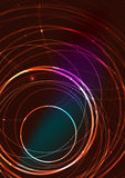 Abstract color glowing lines in dark space with Stock Photo