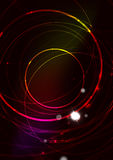 Abstract color glowing lines in dark space with Royalty Free Stock Photo