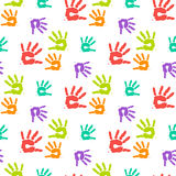 Abstract color hand prints seamless pattern Stock Photo