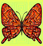Abstract color image of the large red butterfly. Abstract colored vector illustration image of red butterfly consisting of lines and figures vector illustration