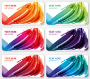 Abstract  color labels banners visit cards. 6 abstract  labels banners or visit cards layered. An illustration of abstract shapes in different colors with text Stock Images