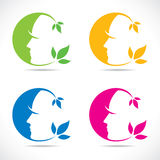 Abstract color leaf girls face Stock Images