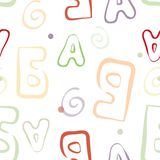 Abstract color letters seamless pattern. Stock Images