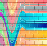 Abstract color lines on brick wall Royalty Free Stock Photo