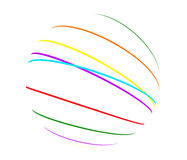 Abstract color lines sphere. On white background Royalty Free Stock Image