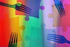 Abstract color picture with four forks. Abstract color picture with slices of a puzzle and four forks stock illustration