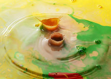 Abstract color pigments milk drops Stock Photo