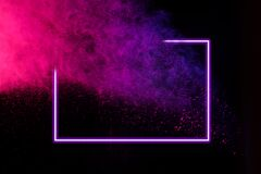 Abstract Color Splash With Neon Frame For Wallpaper Design Colorful Dust Explode Paint Splash On White Background Stock Photo Image Of Pink Dust 173261790
