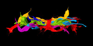 Abstract color splashes on black background Royalty Free Stock Photos