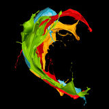 Abstract color splashes on black background Royalty Free Stock Image