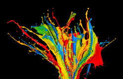 Abstract color splashes on black background Stock Image
