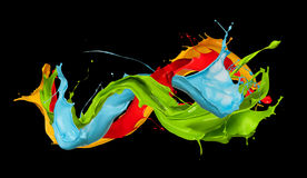 Abstract color splashes on black background Royalty Free Stock Images