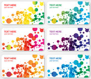 Abstract  color spotted banners visit cards. 6 abstract  spotted labels banners or visit cards layered. An illustration of spotted shapes in different colors Stock Photo