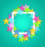 Abstract color stars frame with white rectangle. Stock Photo