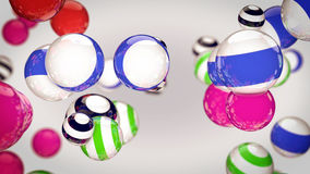 Abstract color striped spheres Stock Photos