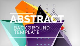 Abstract color triangles geometric background. Mosaic triangular low poly style stock illustration