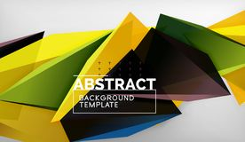 Abstract color triangles geometric background. Mosaic triangular low poly style royalty free illustration