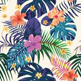 Abstract color tropical pattern seamless light background. Tropical abstract color print. Flowers and leaves beach wallpaper. Jungle exotic background Stock Image