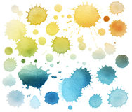 Abstract color watercolor blot isolated. Collection of watercolor blot isolated stock images