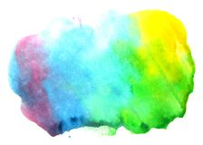 Abstract color watercolor on white background. The color splashing in the paper. Hand drawn Stock Photos