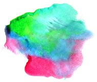 Abstract color watercolor on white background. The color splashing in the paper. Hand drawn Stock Photography