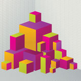 Abstract colored 3D cubes illustration for design Stock Photo