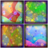 Abstract colored background. Set abstract various colored backgrounds, patterns with curves, stars and circles Stock Photography