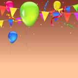 Abstract colored background. With balloons, garlands of colored flags, streamers and confetti. Holiday greeting card for Christmas, new year, birthday or Stock Image