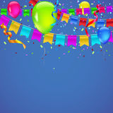Abstract colored background. With balloons, garlands of colored flags, streamers and confetti. Holiday greeting card for Christmas, new year, birthday or Royalty Free Stock Photos
