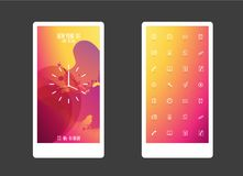 Abstract colored background with different shapes and app icons. Mobile phone background royalty free illustration