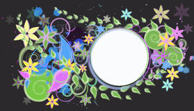 Abstract colored background with flowers. Abstract colored background with swirls and flowers royalty free illustration